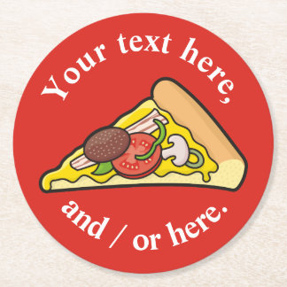 Pizza slice round paper coaster
