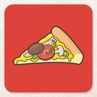 Pizza slice square paper coaster