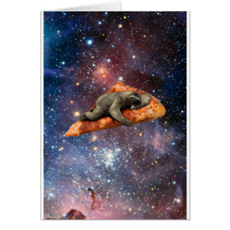 Pizza Sloth In Space Card