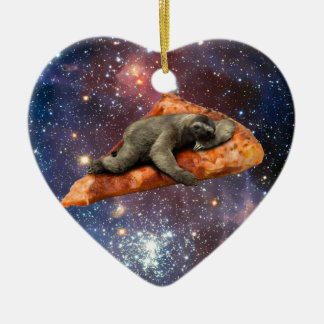 Pizza Sloth In Space Christmas Ornament