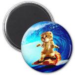 Pizza Surfing Cat 6 Cm Round Magnet
