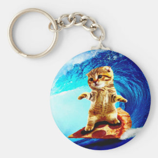Pizza Surfing Cat Basic Round Button Key Ring