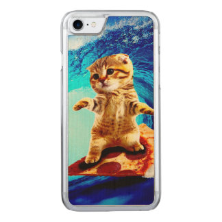 Pizza Surfing Cat Carved iPhone 8/7 Case