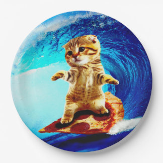 Pizza Surfing Cat Paper Plate