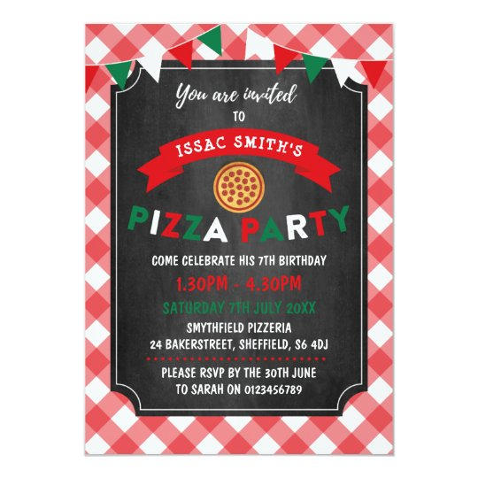 Pizza themed birthday party invitation
