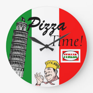Pizza Time-Italian Flag Large Clock