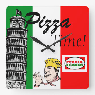 Pizza Time-Italian Square Wall Clock