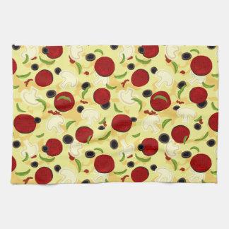Pizza Toppings Pattern Tea Towel