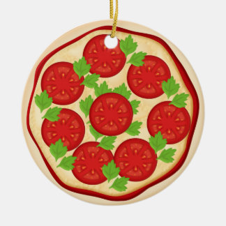 Pizza with tomatoes christmas ornament