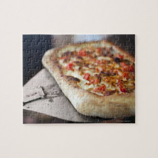 Pizza with tomatoes, garlic and meat substitute jigsaw puzzle