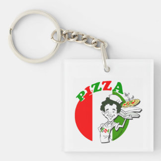 Pizzaiolo and Pizza Key Ring