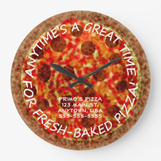 Pizzeria Pepperoni Pizza Custom Wall Clock w Name