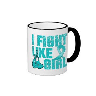 PKD I Fight Like A Girl (Grunge) Ringer Mug