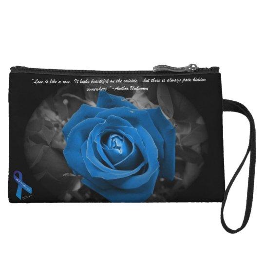 PKU Awareness Blue Rose Quote Mini Cluth Wristlet
