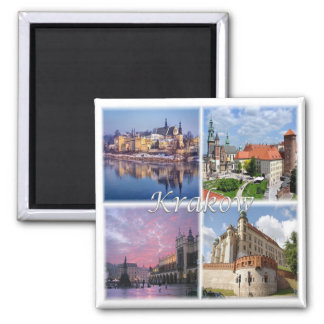 PL * Poland - Krakow Poland Polska Square Magnet