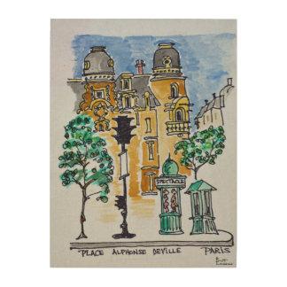 Place Alphonse Deville | Paris, France Wood Wall Art