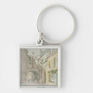 Place Barthelme, Paris, c.1829 (w/c & grey wash ov Silver-Colored Square Key Ring