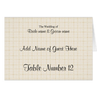 Place Card in Light Beige Check and Black Text