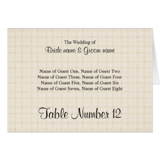 Place Card in Light Beige Check and Black Text.