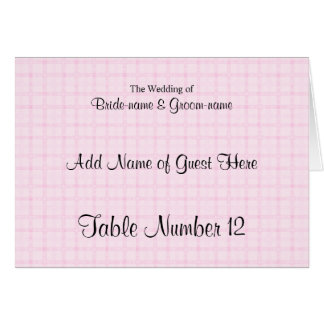 Place Card in Pale Pink Check and Black Text