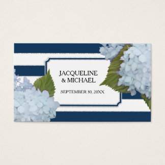 Place Cards English Blue Hydrangea Silver Glitter