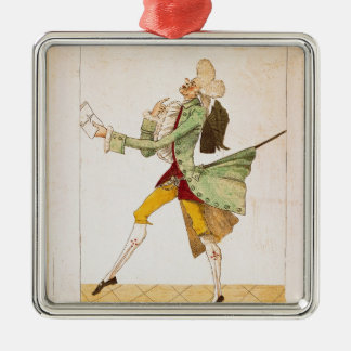 Place caricature of the returning emigrants Silver-Colored square decoration