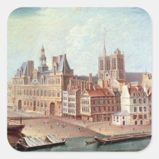 Place de Greve in 1750 Square Sticker