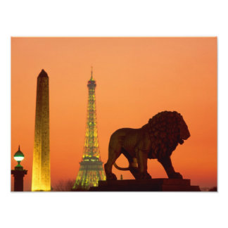 Place de la Concorde; Eiffel Tower; Obelisk; Photo Print