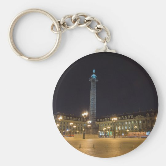Place de la concorde in Paris at night Basic Round Button Key Ring