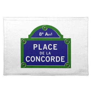 Place de la Concorde, Paris Street Sign Placemat