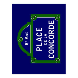 Place de la Concorde, Paris Street Sign Postcard