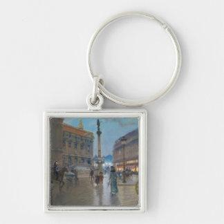 Place de L'Opera, Paris Silver-Colored Square Key Ring