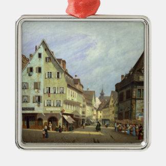 Place du Marche-aux-Fruits, Colmar, 1875 Silver-Colored Square Decoration