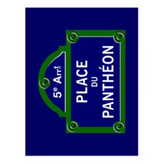 Place du Pantheon, Paris Street Sign Postcard