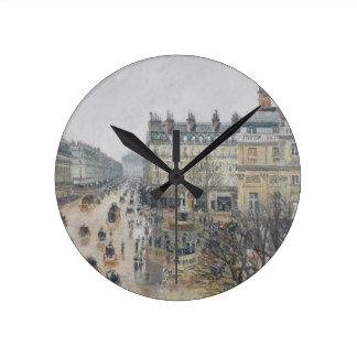 Place du Theatre Francais, Paris: Rain, 1898 Round Clock