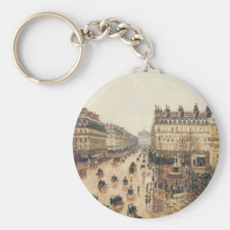 Place du Theatre Francais, Paris: Rain by Pissarro Keychain