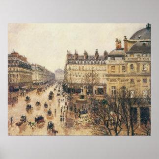 Place du Théâtre Français Paris Rain by Pissarro Poster