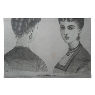 Place mat, 19th century fashion illustration placemat