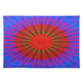 Place Mat -  red / blue spindle design