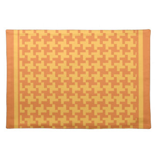 Place Mat, Woven Cotton, Orange Dogstooth Check Placemat