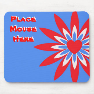 """Place mouse here"", red, white blue flower Mouse Pad"