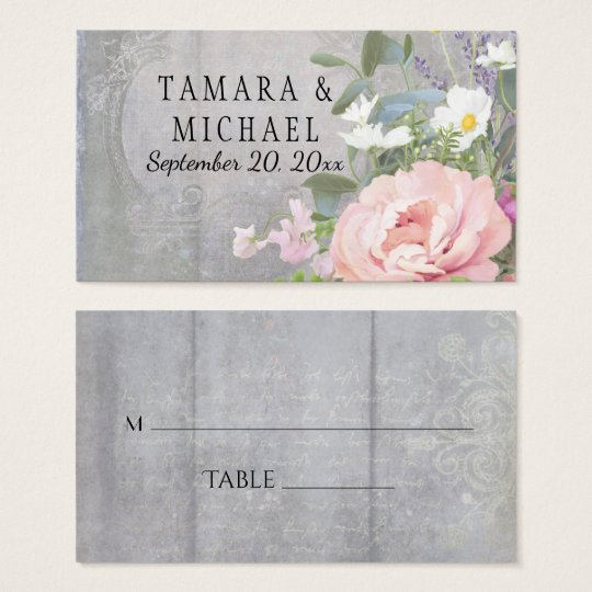 Placecards Bridal Shower Wood Rustic Floral Peony Business