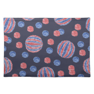 Placemat 20''x14'' with red-blue balls