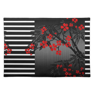 Placemat Asian Black White Red Bamboo Blossom