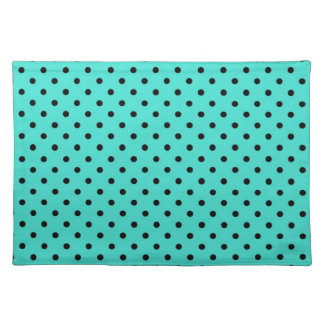 Placemat Black and Turquoise Polka Dot