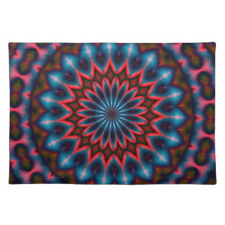 Placemat - blue pink red kaleidoscope