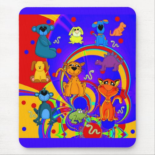 Placemat Boys Kid's Animals Collage Mouse Pads