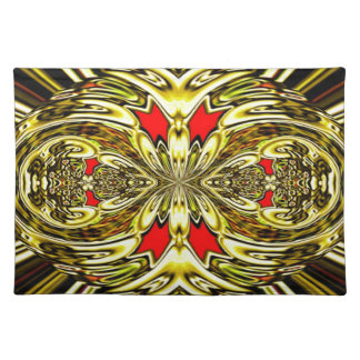 Placemat - Decorative gold red oval egg design