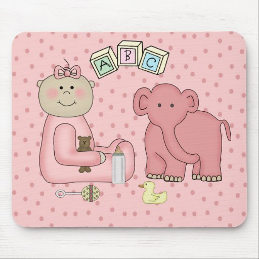 Placemat For Baby Girl, Pink Elephant Mouse Pads