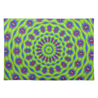 Placemat -  Green red neon kaleidoscope